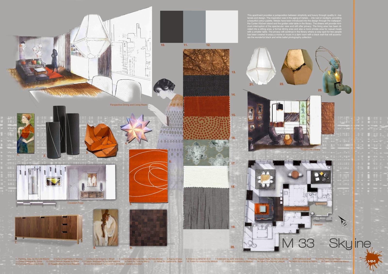 Mich le meister interior design portfolio for Interior decoration examples