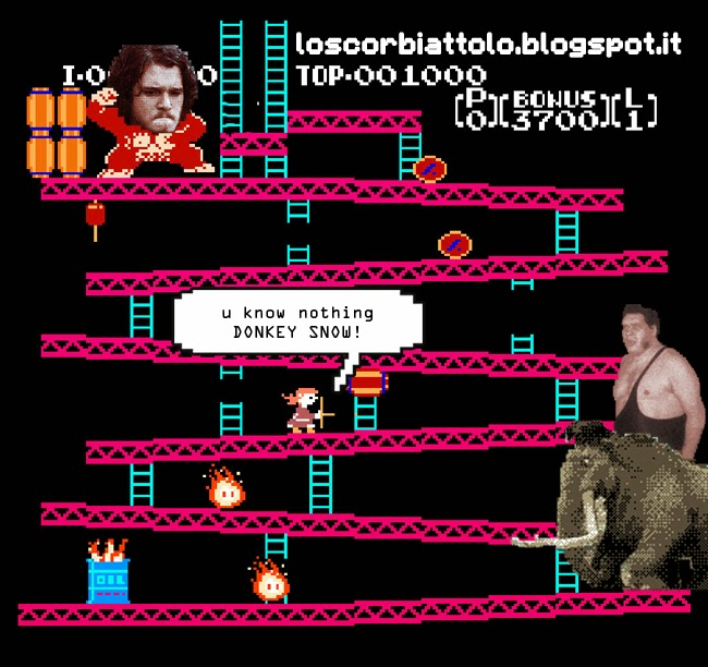 jon snow donkey kong parody game of thrones the wall