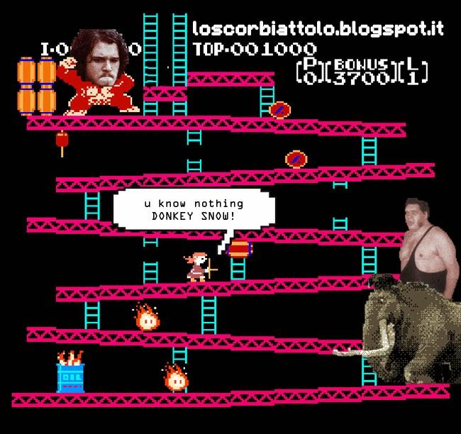 jon snow donkey kong parody game of thrones the wall