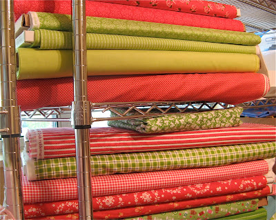 Red and Green fabrics for Christmas Quilt