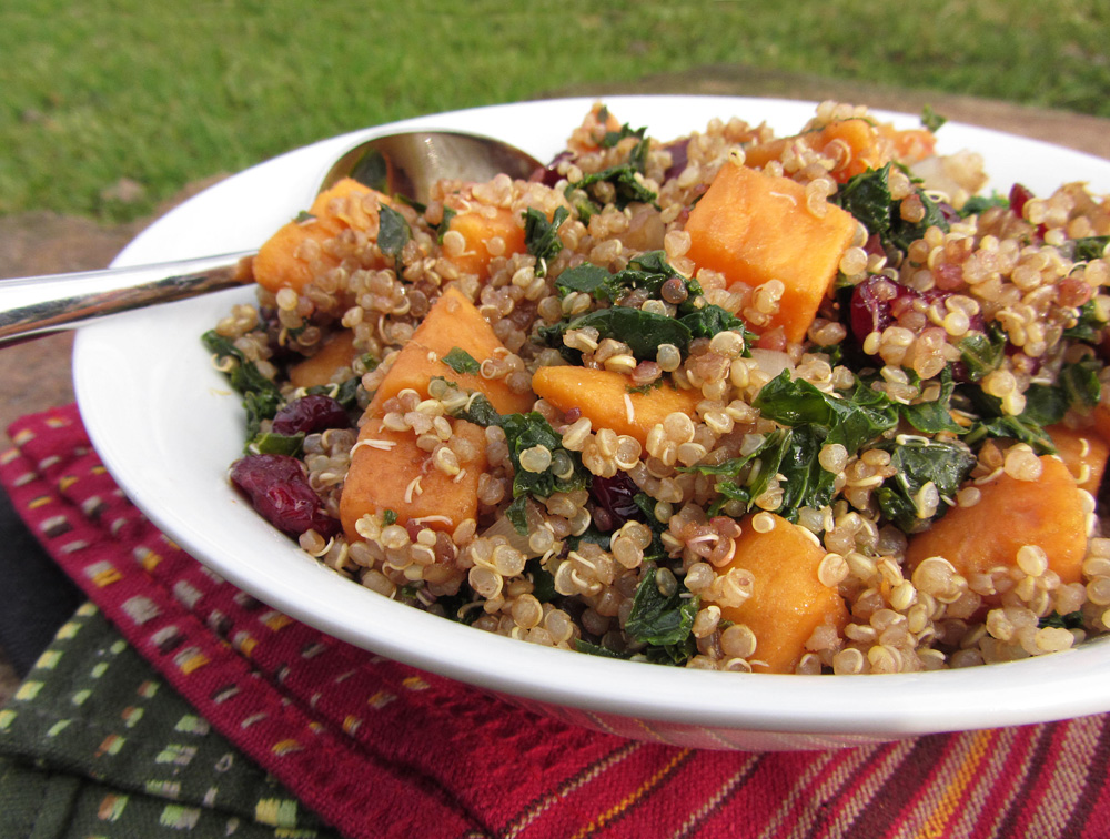 Sweet Potato, Kale, and Cranberry Quinoa Salad | Once Upon a Cutting ...