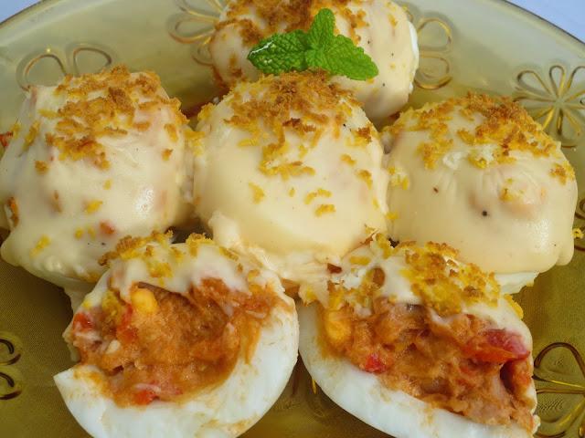 Huevos rellenos gratinados Ana Sevilla