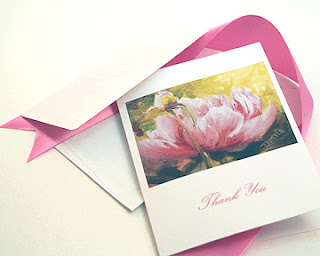 pink peony note cards notecards