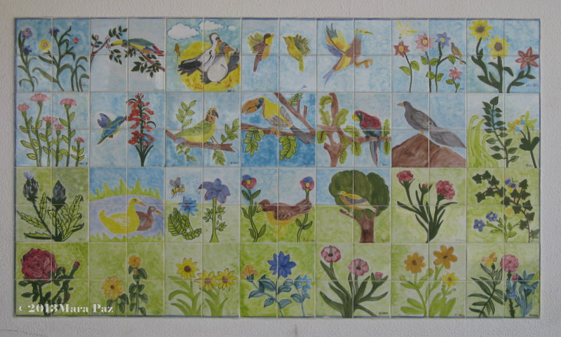 students' birds and flowers panel