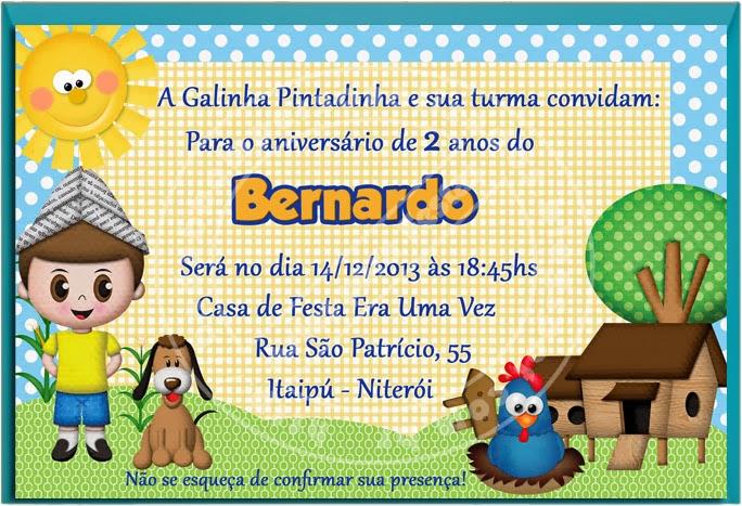 Convite e tag de convite Galinha Pintadinha