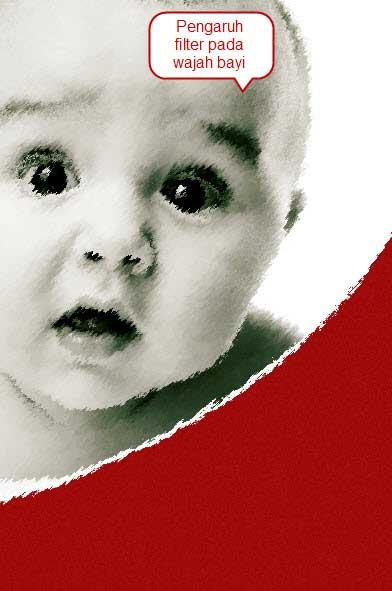 Akibat menggunakan Filter, pada bagian wajah bayi menjadirusak ...