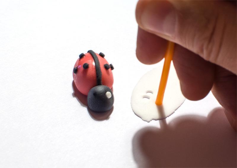 Ladybug fondant figure little white spots