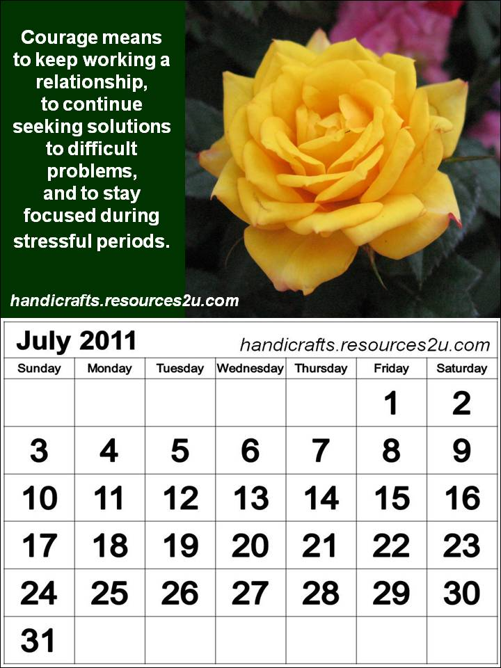 Free 2013 Calendars Printable: Vertical July 2011 Calendar with quotes