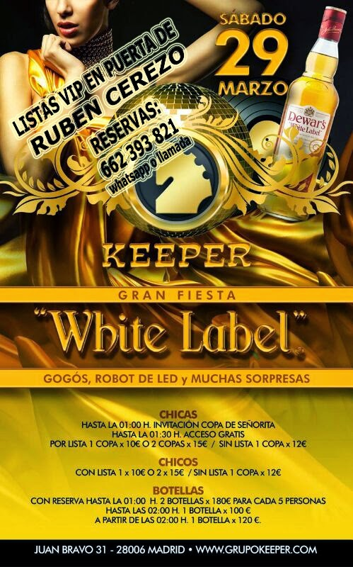 LISTAS KEEPER SÁBADO 29 DE MARZO: WHITE LABEL