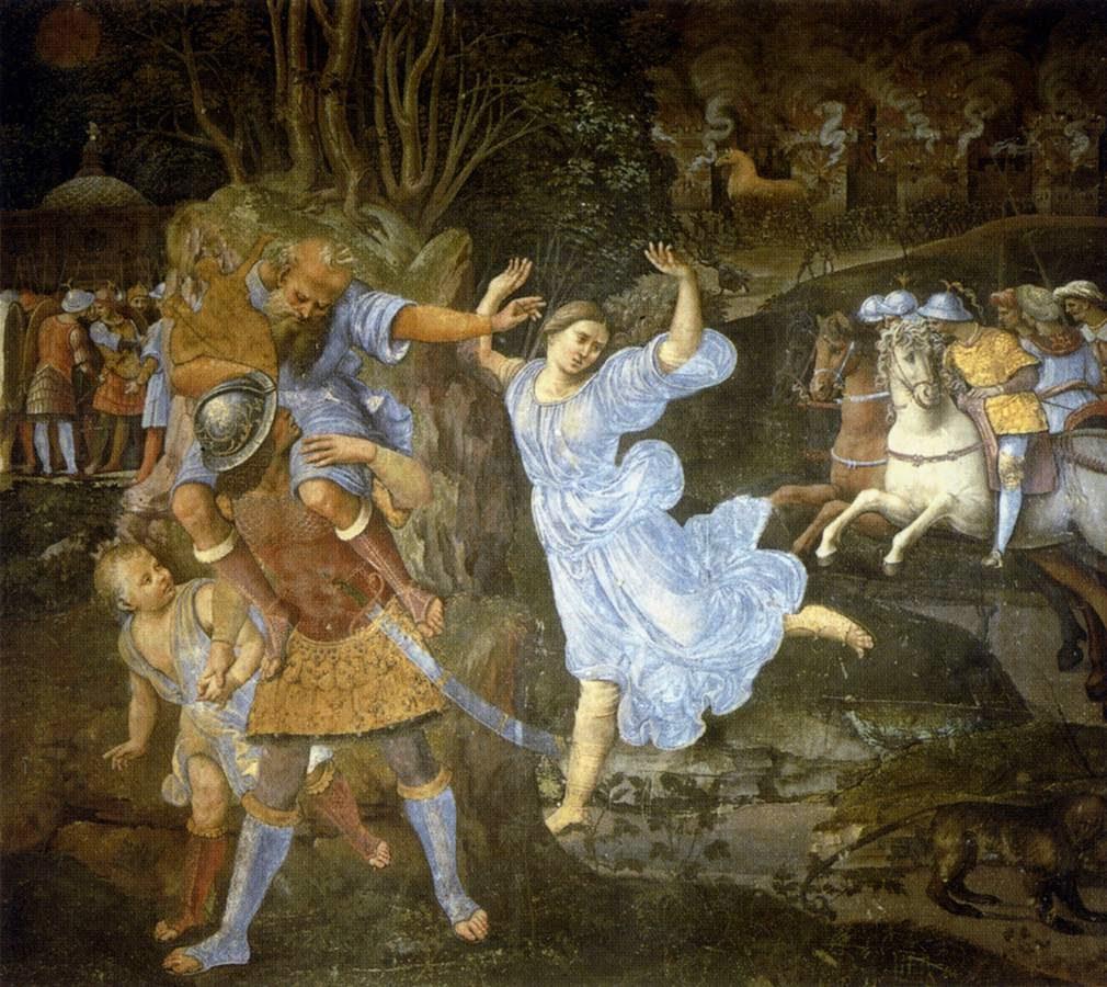 Eneas, el superviviente de la Guerra de Troya. 'Flight_of_Aeneas_from_Troy'%2C_fresco_painting_by_Girolamo_Genga%2C_1507-1510%2C_Pinacoteca_Nazionale%2C_Siena
