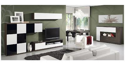 Art d co salon en noir et blanc for Salon contemporain noir et blanc