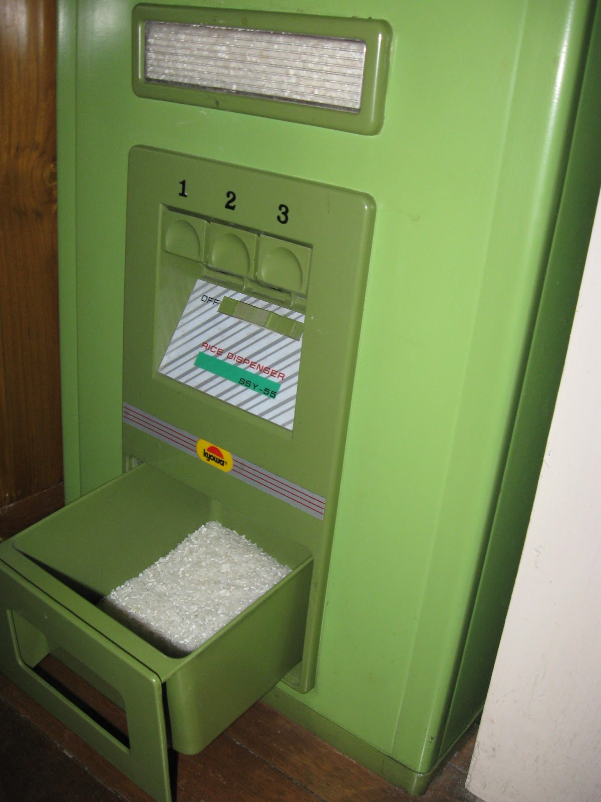 Well, As The Photo Shows, Rice Dispensers Are Equipped With Levers Marked  1, 2 And 3 To Indicate The Number Of Cups They Are Able To Spew Out Into  The ...