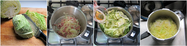 Pressure Cooker Cabbage step-by-step Collage