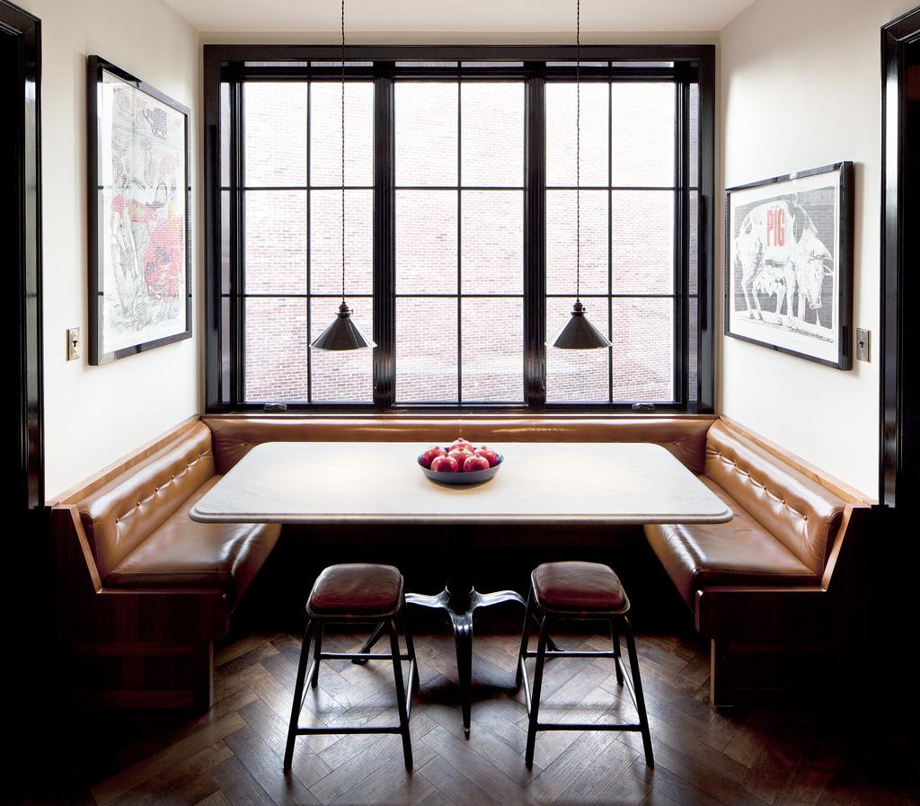 Monkey 39 s muse design inspiration white walls black trim - Black kitchen nook ...