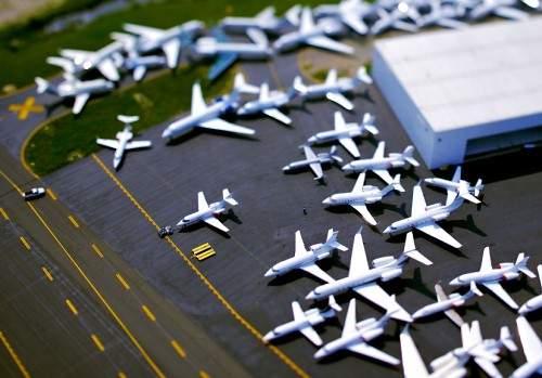Aviões - efeito tilt shift