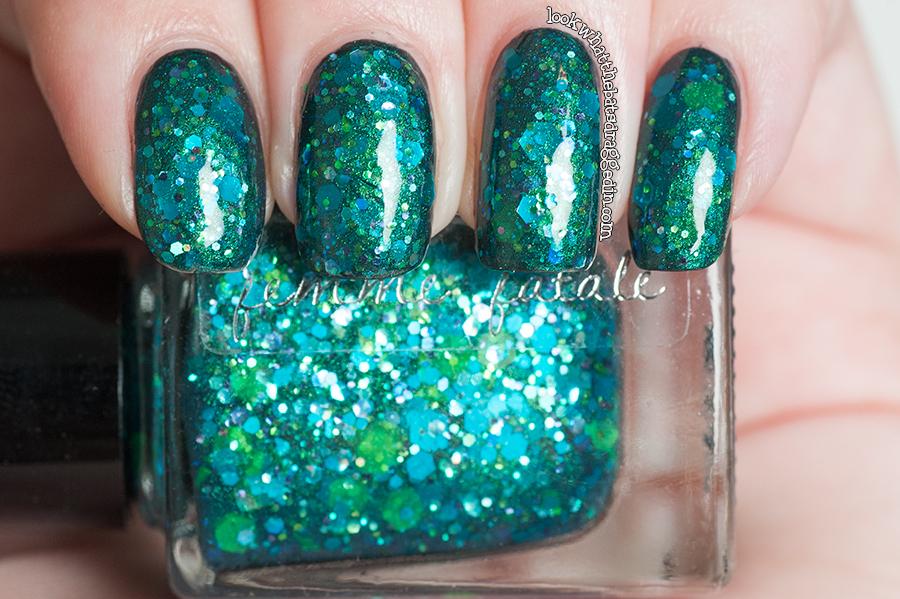 Nail polish swatch Femme Fatale Cosmetics Spindleweb over Illamasqua Viridian