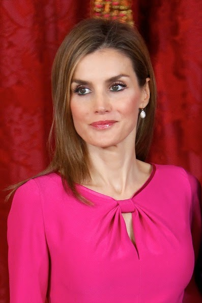 Queen Letizia of Spain receives President of Honduras Juan Orlando Hernandez Alvarado and wife Ana Rosalinda Garcia at the Royal Palace on 01.10.2014 in Madrid, Spain.