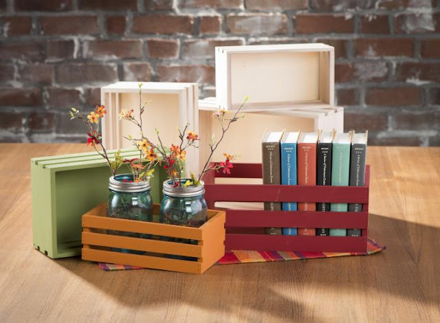 Mini Wood Unfinished Crates @craftsavy, #craftwarehouse, #woodcrate