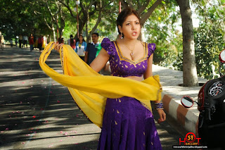 Komal Jha in lovely Purple BLouse and Yellow Dupatta Purple Saree Must See Beauty