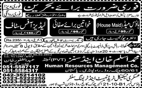 Ladies' Office Staff Required in Bahrain