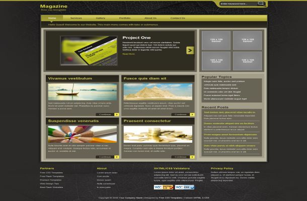 Free CSS Yellow Brown News HTML Website Template