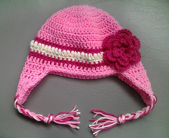 crochet pink baby girl hat with ear flaps