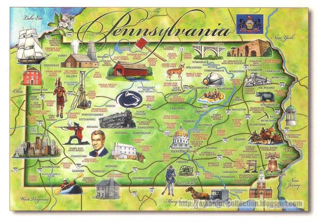 Mapcard | United States of America | Pennsylvania