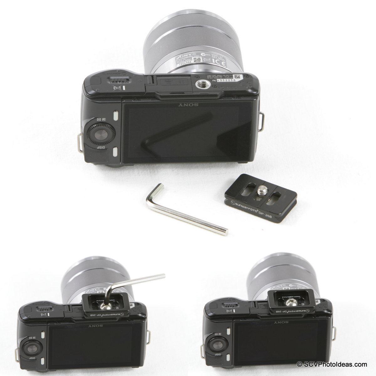 Sunwayfoto DP-26 QR Plate w/ Sony NEX-C3 camera mounting seq