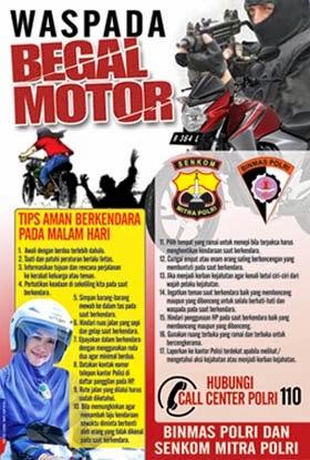 Poster Senkom Waspada Begal Motor