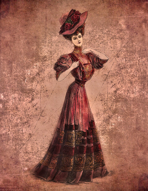 gunadesign guna Andersone girl in red Edwardian Era in Fashion