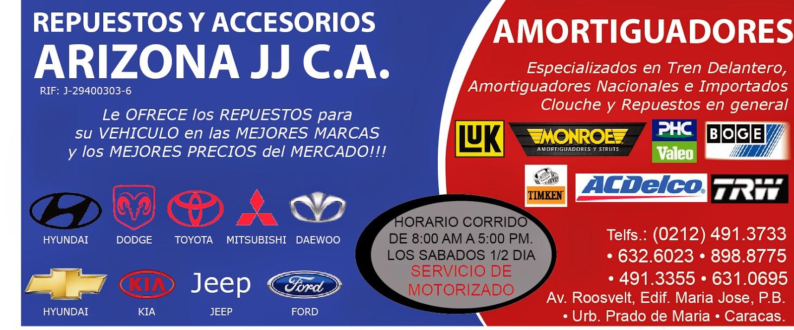 REPUESTOS Y ACCESORIOS ARIZONA JJ, C.A. en Paginas Amarillas tu guia Comercial