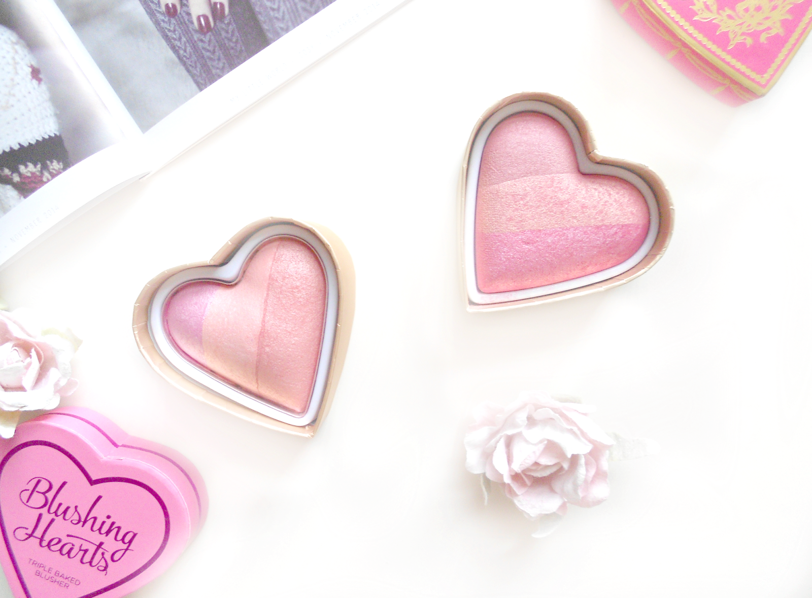 Makeup Revolution VS Too Faced Blushing Hearts