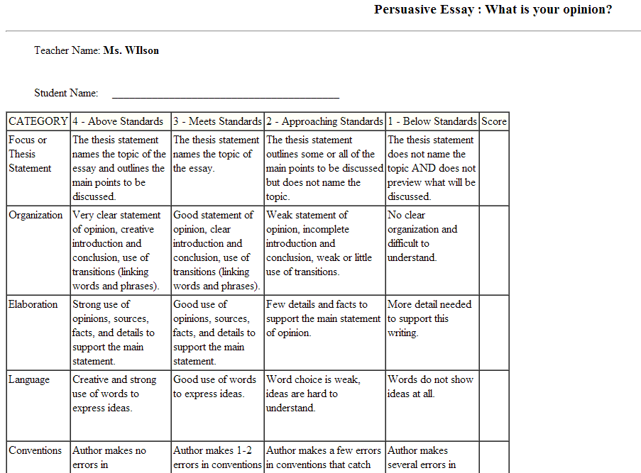 rubric for opinion essay elementary Rubric opinion essay - free download as pdf file (pdf), text file (txt) or view presentation slides online opinion essay rubric.