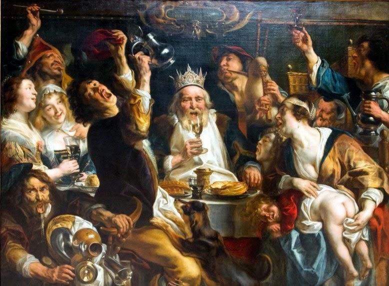 Aunque la Iglesia celebra la Epifanía el seis de enero, la fiesta es evidentemente dionisíaca; basta ver este cuadro de Jordaens sobre las celebraciones de la fecha en la Holanda del siglo XVI