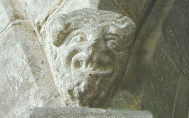 'Grotesque' pillar-stop in Bradeley Church.