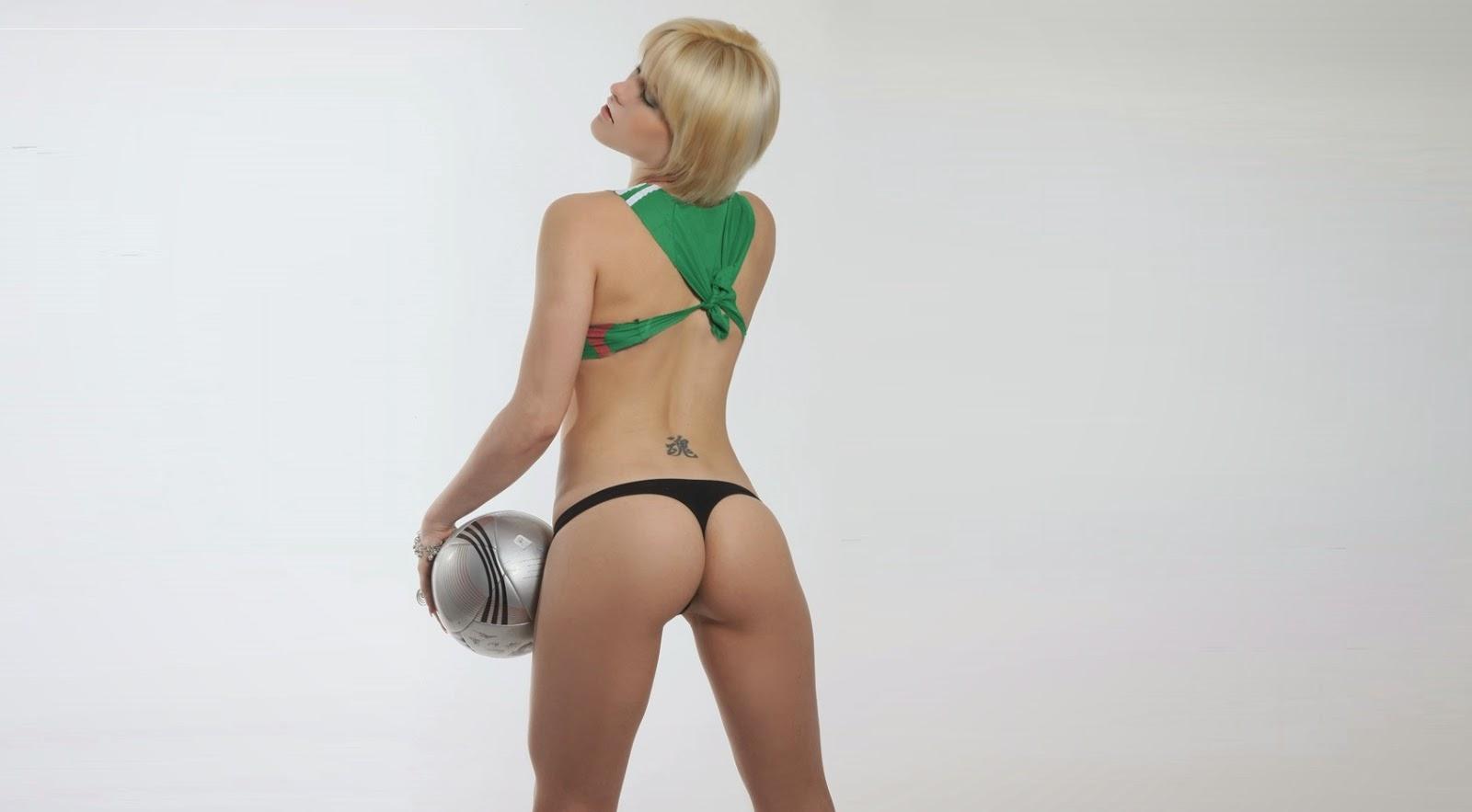 A bela modelo Lissy Polisciuk em ensaio fotográfico nas cores da Seleção Mexicana de Futebol