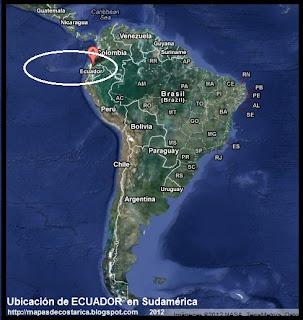 Ubicación de ECUADOR en Sudamérica, Vista Satelital