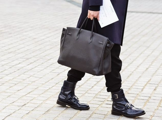 STREET STYLE - BLACK LEATHER BIRKIN BAGHermes Bag Men