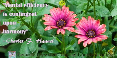 Mental efficiency is contingent upon harmony - Charles F. Haanel