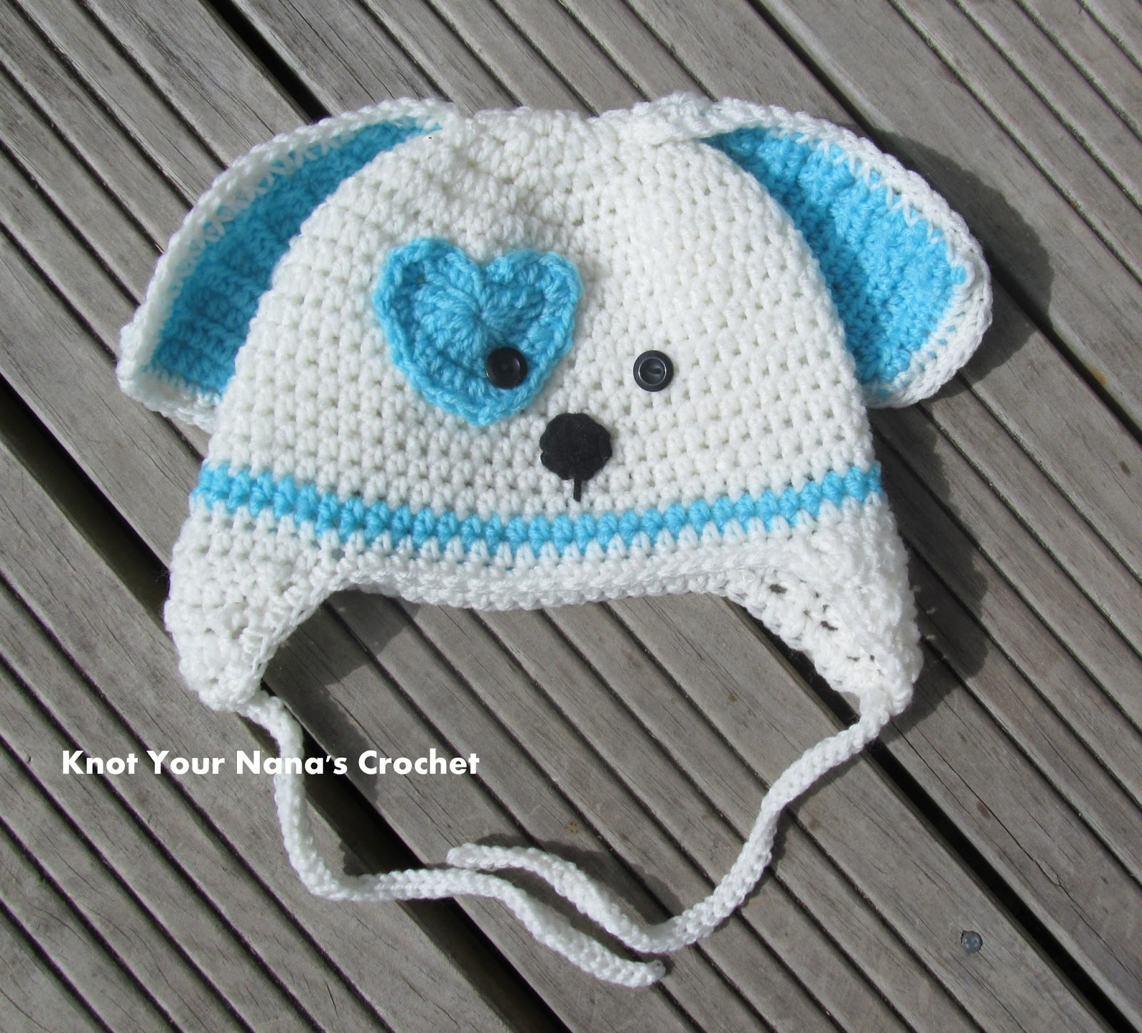 Knot Your Nanas Crochet: Valentines Puppy Hat