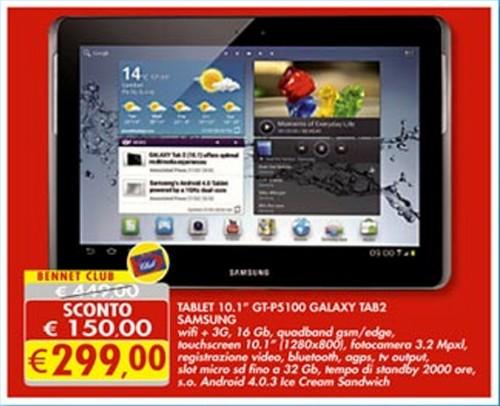 In offerta sull'ultimo volantino Bennet il Samsung Galaxy Tab 2 10.1 P5100 a 299 euro