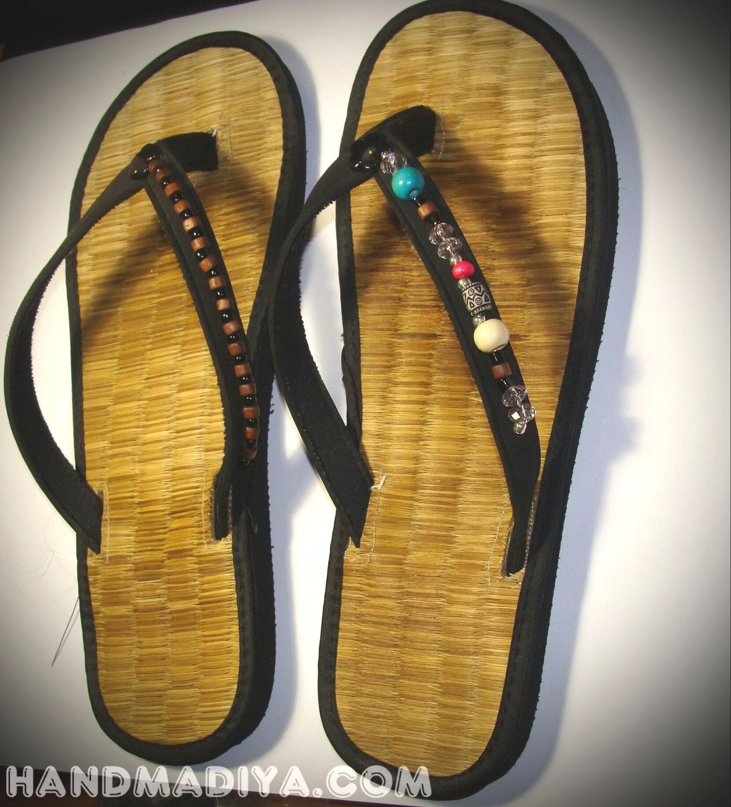 украшаем босоножки. Beach sandals decoration