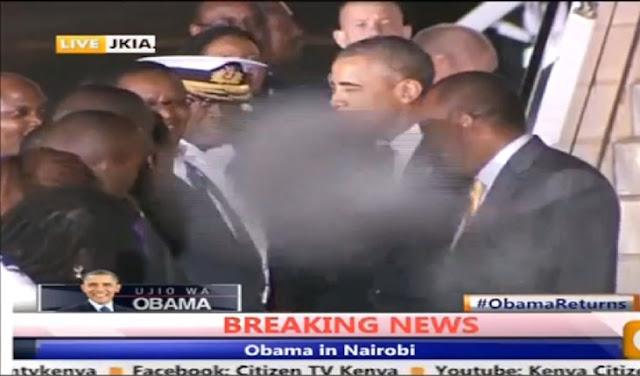 Vídeo mostra figura estranha seguindo Obama