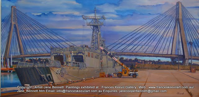 oil painting of controversial ex-HMAS Adelaide' with Anzac Bridge at Glebe Island Wharves by artist Jane Bennett