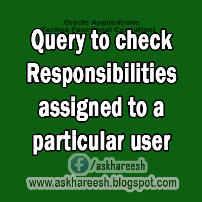 Query to check Responsibilities assigned to a particular user