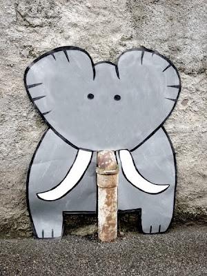 Streetart és az elefánt