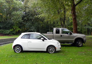 We rented Fiat 500 for the next month to save money on gas mileage and have a more enjoyable driving experience!