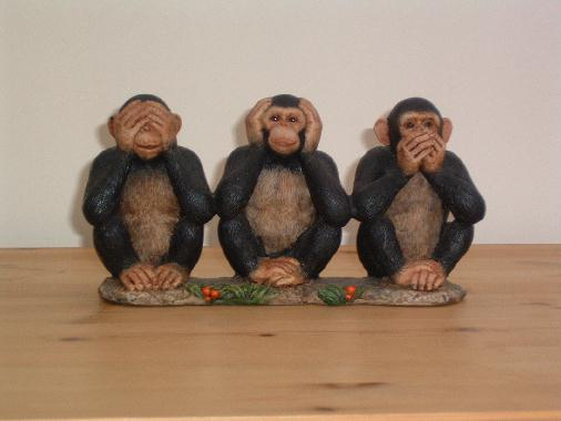 Three wise monkeys three mystic apes