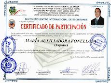 PARTICIPACIÓN EN EL SEXTO ENCUENTRO INTERNACIONAL ESCRITORES Y ARTISTAS DE TARIJA (BOLIVIA) 2013