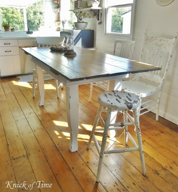 Farmhouse White Kitchen Table via KnickofTimeInteriors.blogspot.com